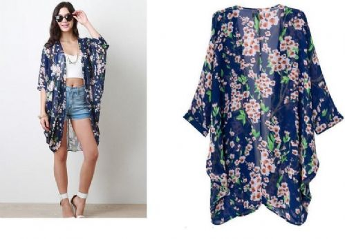 Women Floral Casual Chiffon Blouse Kimono Coat Cape Jacket